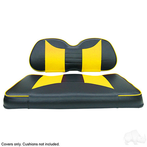 Seat Cover Set, Front Seat Rally Black/Yellow, Club Car Precedent