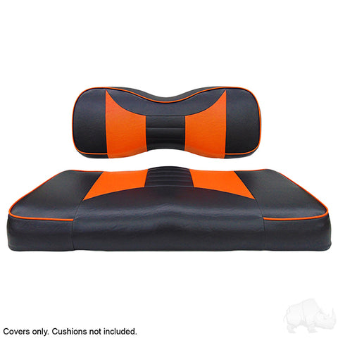 Rally Black/Orange Two-Tone Yamaha Drive Front Seat Covers (Fits 2008-Up)