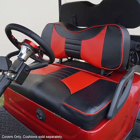 Rally Black/Red Two-Tone Yamaha Drive Front Seat Covers (Fits 2008-Up)