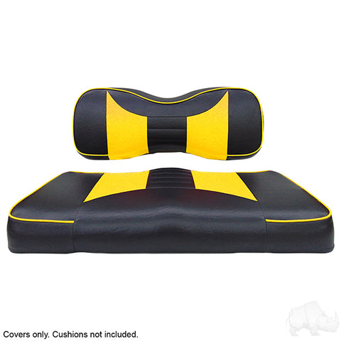 Rally Black/Yellow Two-Tone Yamaha Drive Front Seat Covers (Fits 2008-Up)