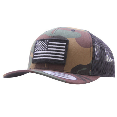 Black And White Flag Trucker Hat