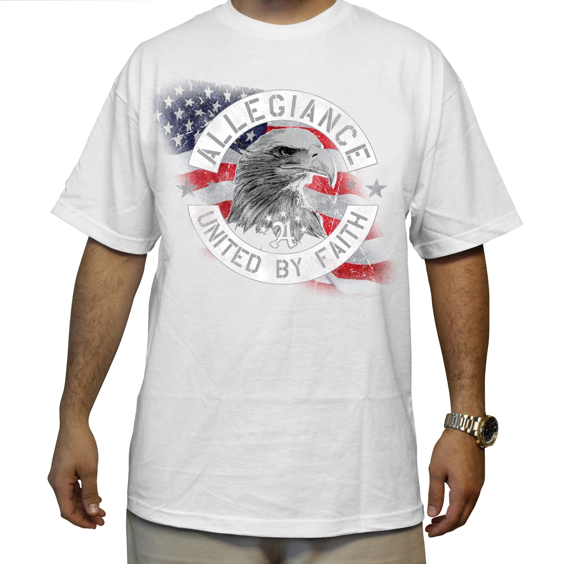 Allegiance Clothing. The Allegiance Eagle Tee. Allegiance Eagle Tee  art print screened on front. Available in black and white. Crew neck. 100% cotton. Machine wash. Made in USA.