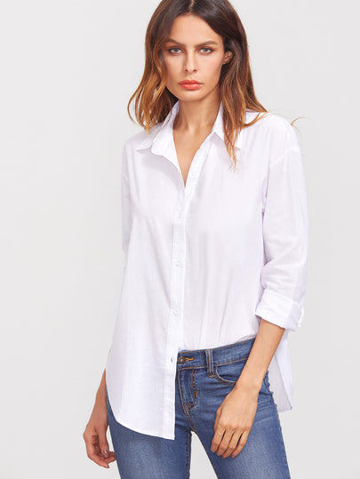 White Lapel Long Sleeve Buttons Blouse - CanalSide Cravings