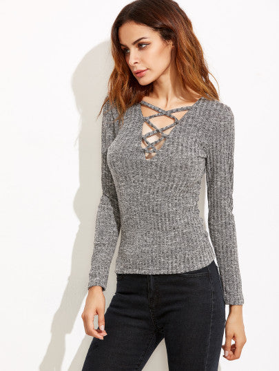 Heather Grey Deep V Neck Lattice Ribbed T-shirt - CanalSide Cravings