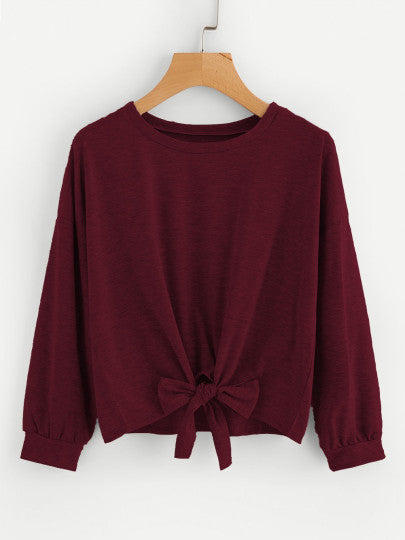 Drop Shoulder Knot Front Marled Sweatshirt - CanalSide Cravings
