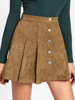 Single Breasted Suede Skirt - CanalSide Cravings