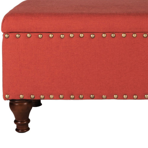 Fabric Upholstered Wooden Storage Bench With Nail - CanalSide Cravings