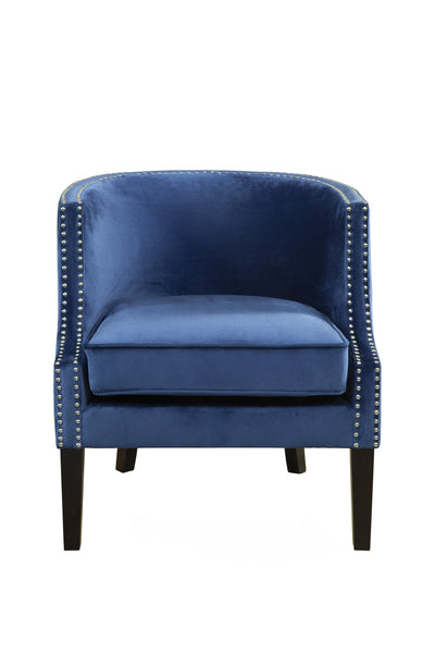 Fabric Upholstered Wooden Accent Chair With Nail - CanalSide Cravings