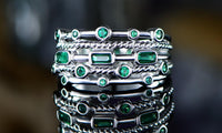 18K White Gold Plated 5 Layer Green Emerald Ring - CanalSide Cravings