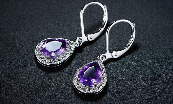Genuine Amethyst with Diamond Accent Teardrop - CanalSide Cravings