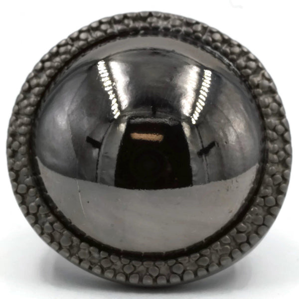 Huge Round Two Tone Black Matte Shiny Ring - CanalSide Cravings