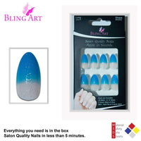 False Nails by Bling Art Blue Gel Glitter 24 - CanalSide Cravings