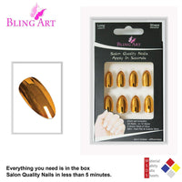 False Nails by Bling Art Gold Metallic Almond - CanalSide Cravings