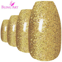 False Nails by Bling Art Gold Gel Ballerina Coffin - CanalSide Cravings