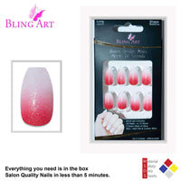 False Nails by Bling Art Red Gel Ombre Ballerina - CanalSide Cravings