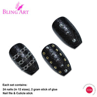 False Nails by Bling Art Black Punk Ballerina - CanalSide Cravings