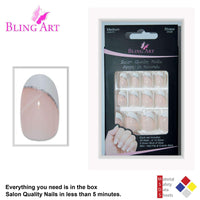 False Nails by Bling Art White Polished Oval - CanalSide Cravings
