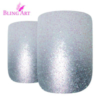 False Nails by Bling Art Silver Gel Ombre French - CanalSide Cravings