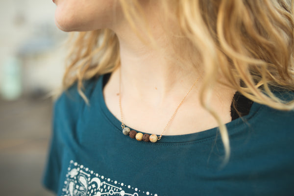 Jasper & Brown Lava Stone Necklace - CanalSide Cravings