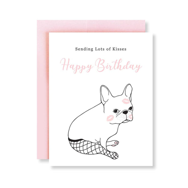 Kisses French Bulldog Birthday Card - CanalSide Cravings