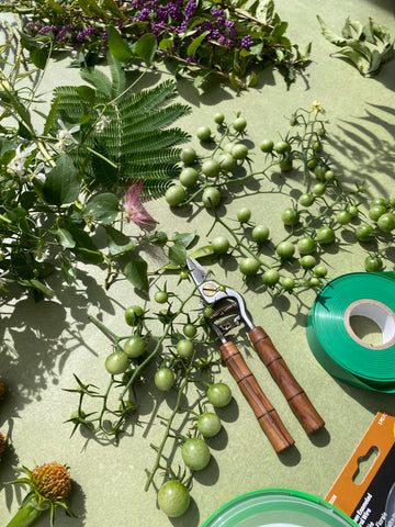 Unripe cherry tomatoes for flower crowns.
