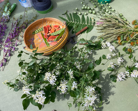 Flowers & fungi for our Labor Day crowns