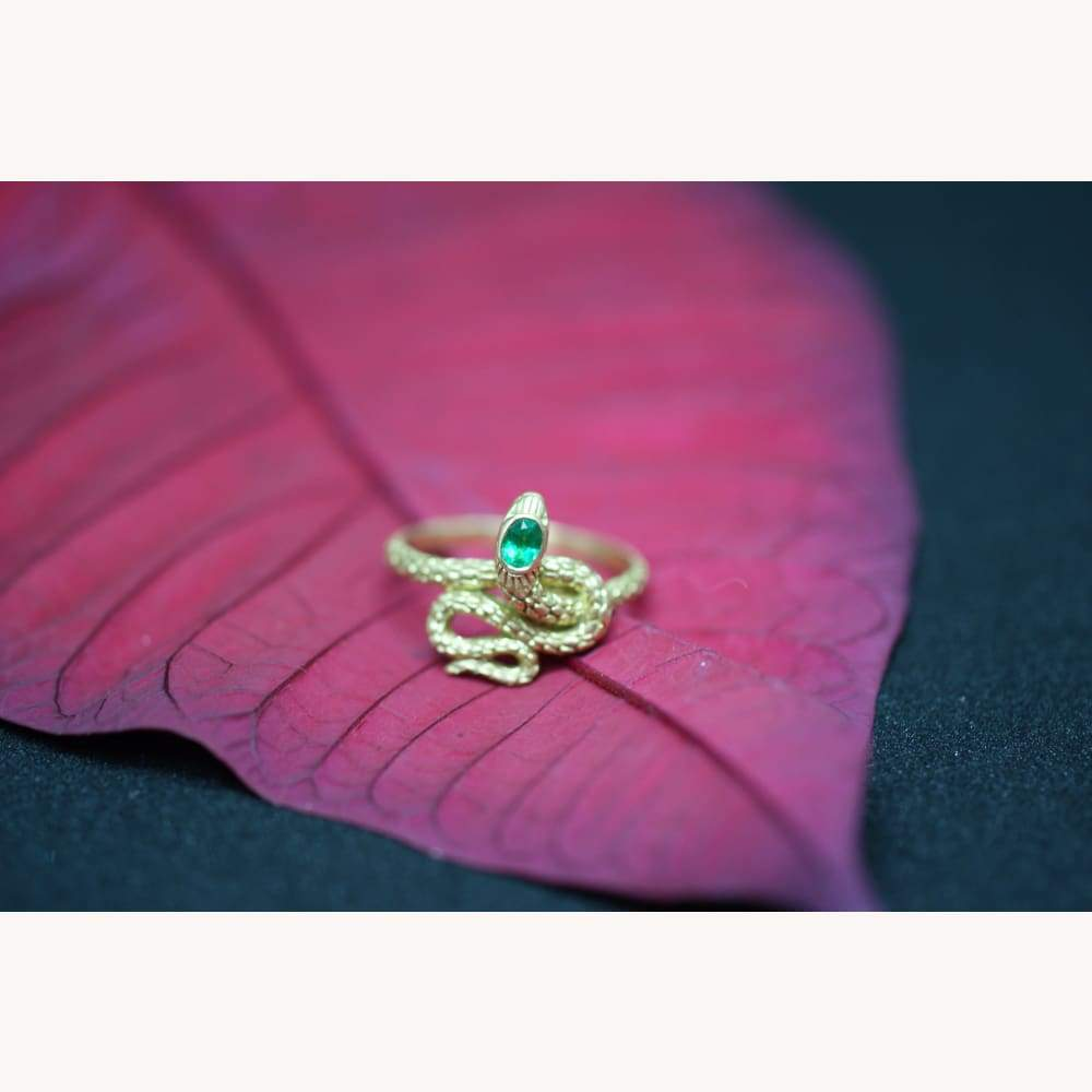 Emerald and 18K Gold Serpent Ring - Golconda Jewelry