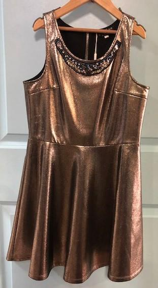 Hannah Banana Gold Shimmer Dress