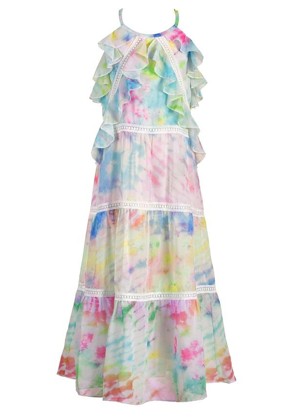 Hannah Banana Tie-Dye Tiered Chiffon Dress