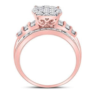 1CTTW Diamond 10K Rose Gold Cluster Engagement Ring