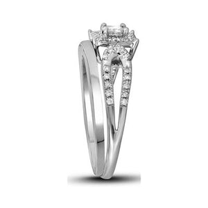 10K White Gold Princess Halo Engagement Ring Set 1/4 CTTW