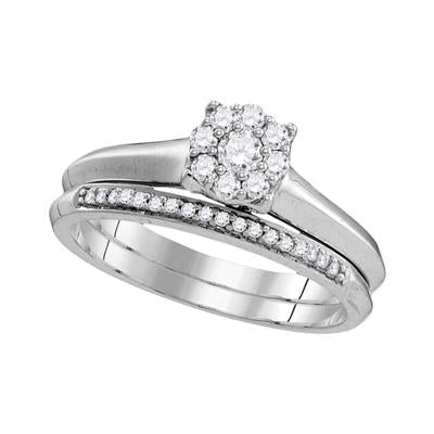10k White Gold Round Cluster Halo Engagement Ring Set 1/3 CTTW