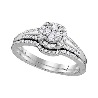 10K White Gold Round Diamond Engagement Set 3/8 CTW