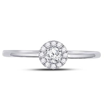 10k White Gold Round Halo Solitaire Engagement Ring 1/5 CTTW