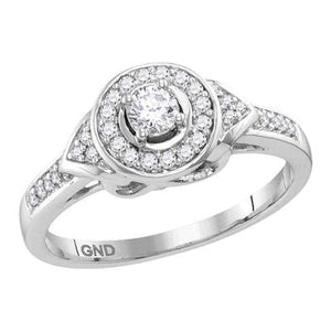 10K White Gold Round Halo Infinity Diamond Engagement Ring 1/3 CTTW