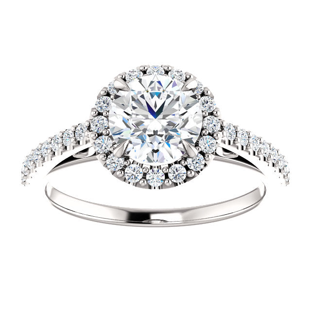 1.55 CTTW 14K White Gold Diamond Halo Engagement Ring