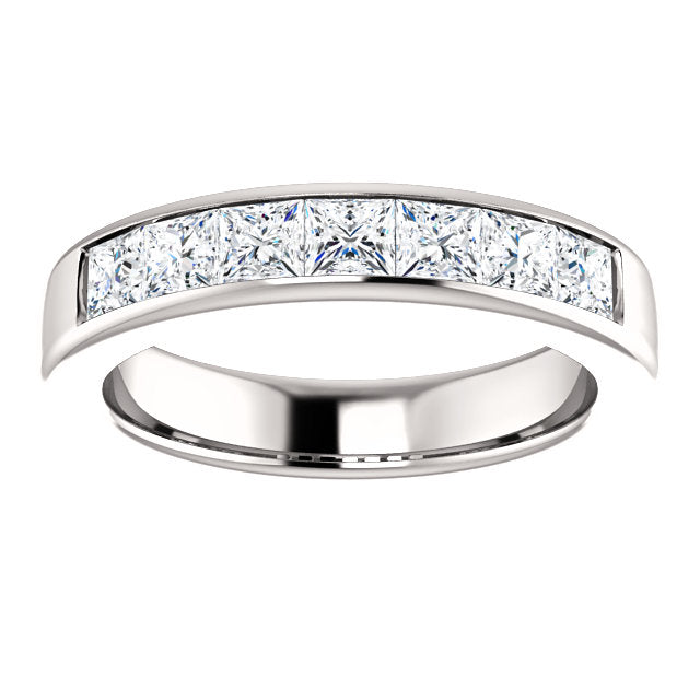2CTTW 14K White Gold Men's Square Diamond Wedding Band