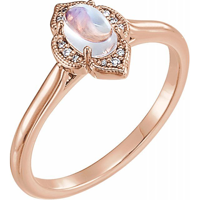 Rainbow Moonstone Diamond Ring