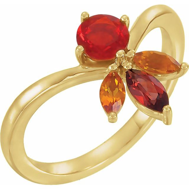 14K Mexican Fire Opal Gemstone Ring
