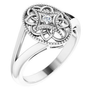Sterling Silver Vintage Inspired .025 CTW Diamond Ring