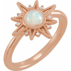 Celestial Opal Cabochon Diamond Ring