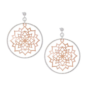 Sterling Silver Diamond Cut Hoop with Rose GP Center Flower Earrings