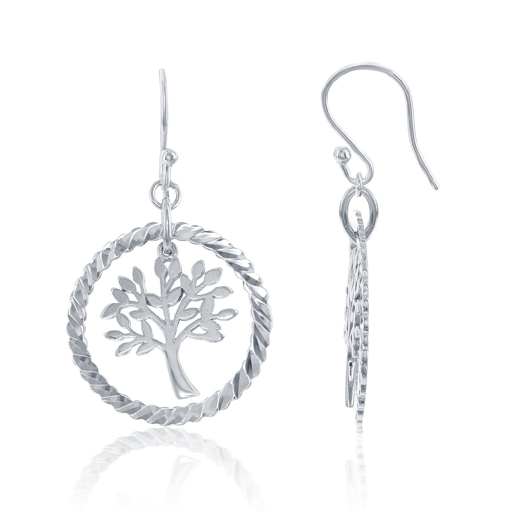 Sterling Silver Open Circle with Center Hanging Tree Of Life Earrings