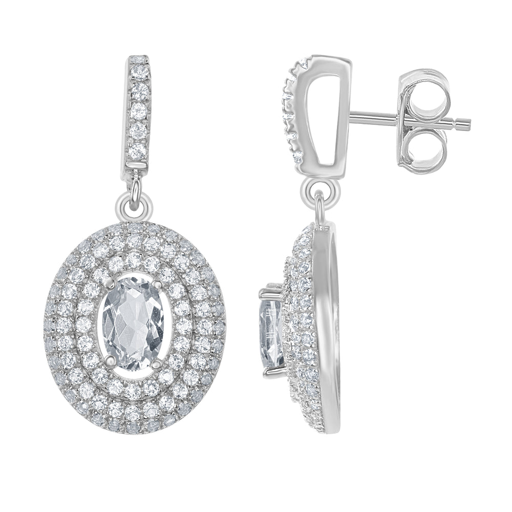 Sterling Silver White Topaz Oval Halo Earring & Necklace Bridal Set