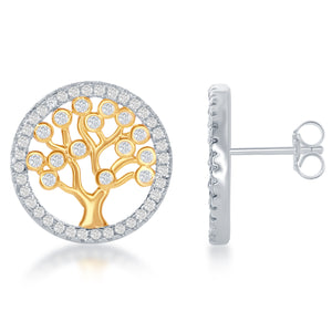 Sterling Silver Yellow Gold Overlay CZ Tree Of Life Earrings