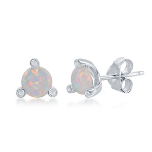 Sterling Silver Three-Prong CZ & Round White Opal Stud Earrings