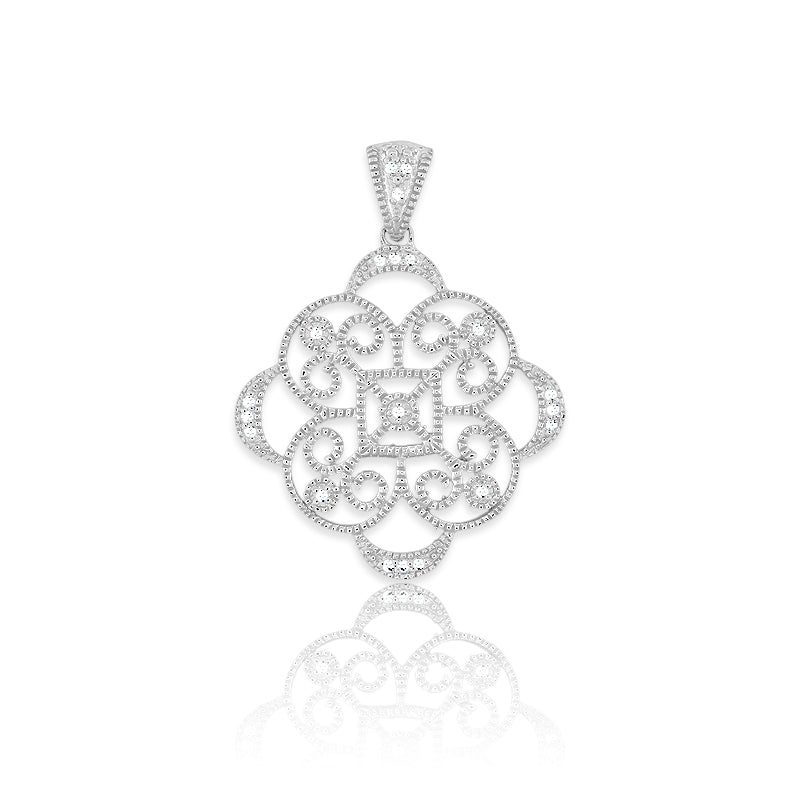 Sterling Silver and Diamond Filigree Pendant with Chain