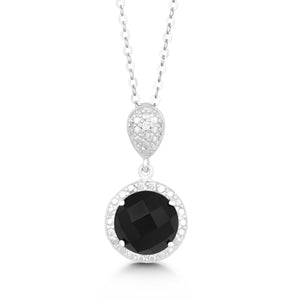 Sterling Silver Diamond and Round 9mm Black Onyx Pendant
