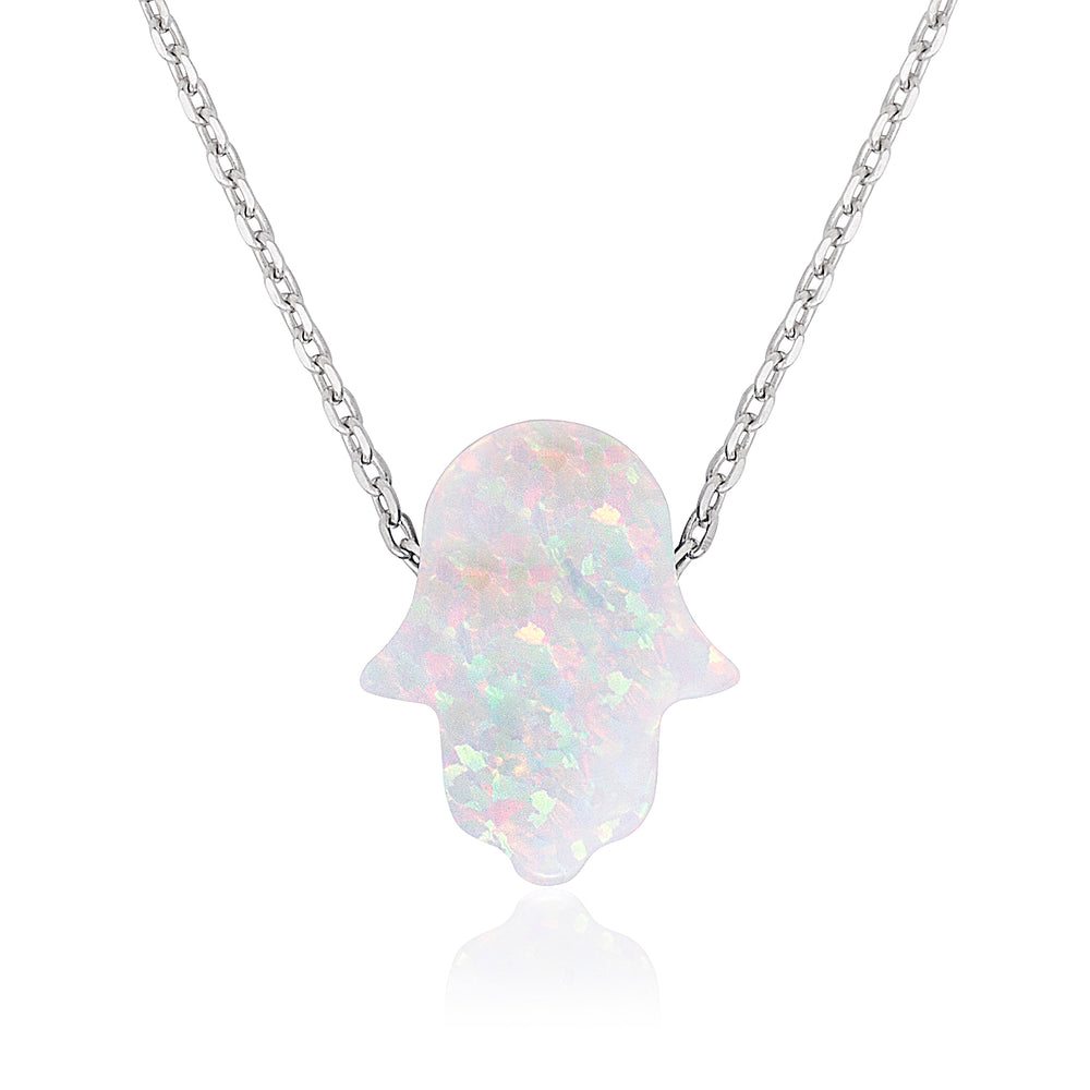 Sterling Silver Small White Opal Hamsa Necklace