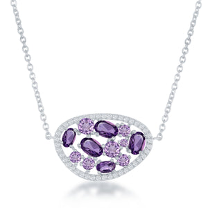 Sterling Silver Multi Shaped Amethyst with White Topaz Border Necklace